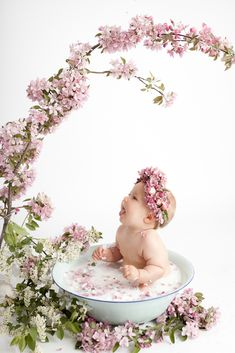 baby milk bath floral milk bath vintage basin fresh florals botanical milk bath studio milk bath baby sitting in vintage basin with flowers edm Milk Bath Photography, Baby Girl Photography, Children Photography, Photography Flowers, Photography Ideas, Vintage Photography, Photography Portraits, Color Photography, White Photography