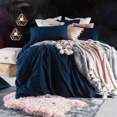 Simple, chic and wonderfully textured, our Washed Linen Look quilt cover set is the perfect base for all your throws, cushions and accessories. This gorgeous quilt cover set looks stunning with anything, and it's always in style. Blush Bedroom, Gray Bedroom, Bedroom Colors, Home Bedroom, Bedroom Decor, Blue And Pink Bedroom, Navy Blue Bedrooms, Bedding Decor, Bedroom Ideas