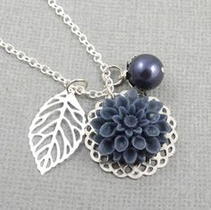 Navy Blue and Silver Flower and Leaf Charm Wedding by cymbaline84
