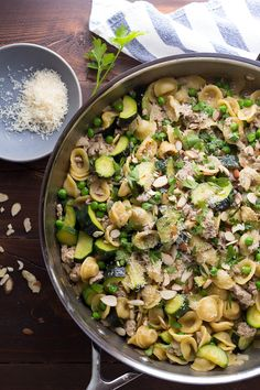 One Pan Orecchiette with Ground Turkey and Zucchini @sweetpeasaffron