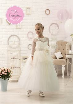 3b9c19272b First Communion Dress for Young Girls Ivory First Communion girls dress with  elegant 3 4