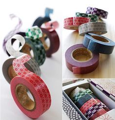 This is japanese paper(washi) masking tape made in Japan. 6 roll (tradition pattern of Japan) is included in a paper box. It can be used for scrapbooking, card, gift and collage. Very fun! Diy Washi Tape Crafts, Washi Tape Uses, Masking Tape, Diy And Crafts, Washi Tapes, Tapas, Scotch Tape, Japanese Paper, Vintage Japanese
