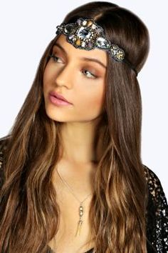 Boutique Kayley Floral Gem Headband at boohoo.com