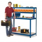 Our 4 level workstation has four different shelves all with different heights and sizes, suitable for storing all your packing materials, tools, and DIY equipment. available in 2 different widths.