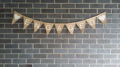 Engaged Hessian Burlap Bunting Banner Engagement Party Decoration Photo Props Decoration all white