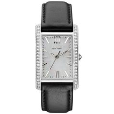 Elegance at a bargain price: the Caravelle 43L162 Womens Crystal New York MOP White Dial Black Leather Band Watch. On sale $63.75 #watch #Caravelle #womenwatch