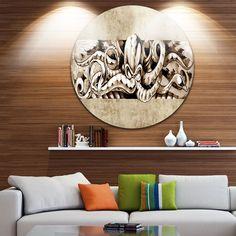 Designart 'Octopus Sketch in Shade' Animal Digital Art Circle Wall Art