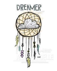 Watercolor Dream Catcher Illustration by almostnoelle on Etsy