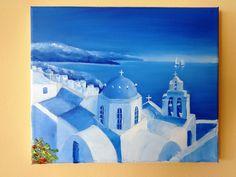 Santorini, Greece - oil painting 25 x 30 cm