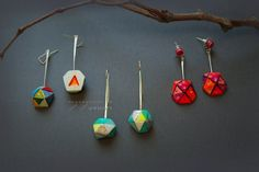 Long rustic faceted earrings Triangle puzzles by byMariannaVynar