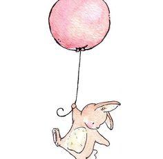 Impresión del arte de los niños. Conejito y globos por LoxlyHollow
