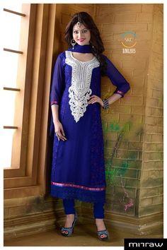 Gorgeous blue party wear salwar kameez