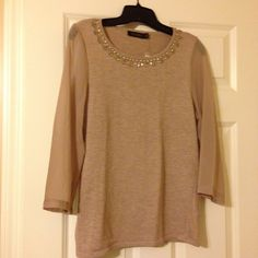 NWT light brown jeweled sweater w/sheer sleeves Attractive sweater from The Limited. Gold, silver, and crystal jeweled neckline with three quarter length sheer sleeves. Light tan color. The Limited Sweaters