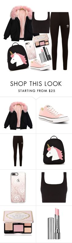 """""""Untitled #1586"""" by mihai-theodora ❤ liked on Polyvore featuring Converse, adidas Originals, Forever 21, Casetify, Too Faced Cosmetics, By Terry and Chanel"""