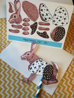 DIY Valentine or Birthday Bunny Card 5 x 7 by jumpjackstudio
