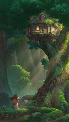 Tree house by NathanParkArt on DeviantArt - . Tree house by NathanParkArt on DeviantArt – house Fantasy Artwork, Fantasy Art Landscapes, Fantasy Concept Art, Landscape Art, Dark Fantasy, Anime Fantasy, Anime Kunst, Anime Art, Manga Art