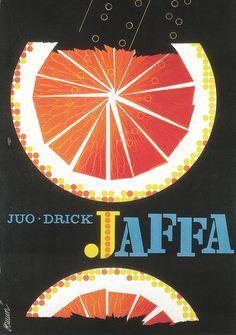 Jaffa orange poster from Finland, Design by Erik Bruun. Retro Advertising, Vintage Advertisements, Vintage Ads, Vintage Posters, Retro Posters, Vintage Graphic, Graphic Design Typography, Graphic Design Illustration, Illustration Art