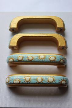 D Handles For Upcycling Furniture, Cabinet Pulls, Painted Handles, Gold,  Cream And Turquoise. 50u0027s Inspired, Luxury Painted Decor, Mint Gold