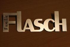 Türschild / Namensschild aus Edelstahl (20cm) m... von Design-aus-Metall auf DaWanda.com