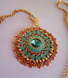 "Tutorial ciondolo o orecchini ""Rame e Turchese""  perline peyote circolare - Rocailles e Delica Miyuki  - Mod. Cerchio #beadwork #earrings tutorial #earrings hoop #hoop #beaded #tutorial"