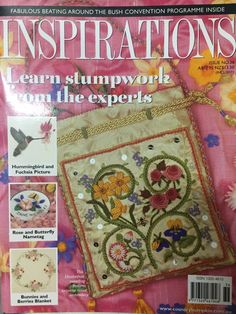 Inspirations Magazine: The World& most beautiful Embroidery Issue 36 Sweet Bags, Monogram Pillows, Inspirations Magazine, World's Most Beautiful, Bohemian Rug, Bunny, Butterfly, Etsy, Projects