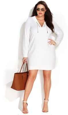 MICHAEL Michael Kors Plus Size Long-Sleeve Lace-Up Sheath Dress