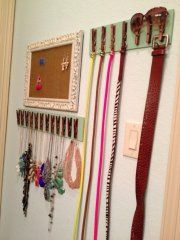 Great Belt Organizer from Clothespins - 150 Dollar Store Organizing Ideas and Projects for the Entire Home