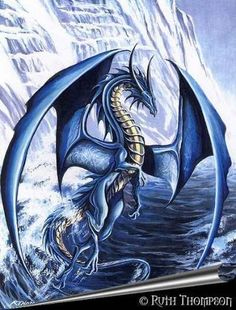 dragon bleu by Ruth Thompson Types Of Dragons, Cool Dragons, Ice Dragon, Water Dragon, Dragon Egg, Fantasy Kunst, Fantasy Art, Magical Creatures, Fantasy Creatures