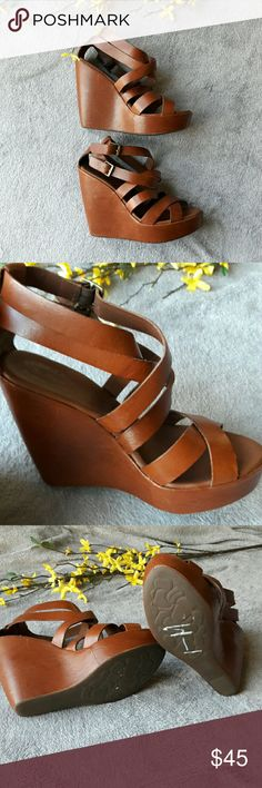 Nordstrom Kork-Ease Tan Leather Strappy Wedges A pair of leather wedges from Kork-Ease. Leather upper & lining. Some small scuffs. 5.5 inch heels with a 1.5 inch platform. Kork-Ease Shoes Wedges