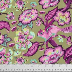 Tula Pink Chipmunk in Raspberry for Free Spirit Chipper Collection Cotton Woodland Fabric - Purple Green Floral Fabric - Modern Fabric by Owlanddrum on Etsy Tula Pink Fabric, Floral Fabric, Retro Fabric, Modern Fabric, Fabric Patterns, Sewing Patterns, Woodland Fabric, Free Spirit Fabrics, Contemporary Quilts