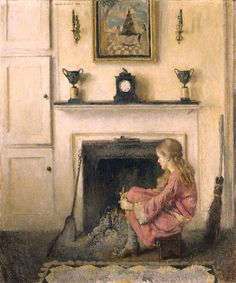 Lilian Westcott Hale, Alice (1925) Lilian Westcott Hale enjoyed a national reputation for her portraits and domestic scenes, painted in a carefully drawn, politely impressionist style. Alice (Sit-by-the-Fire) offers a moment of introspection, the silence accented by the soft lighting and muted tones of the artist's palette. Alice (Sit-by-the-Fire) offers a moment of introspection, the silence accented by the soft lighting and muted tones of the artist's palette.