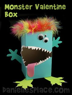 Monster Tissue Box Valentine's Day Box Craft Kids Can Make from www.daniellesplace.com