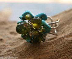 Turquoise Stone Chips & Green Glass Bead Wire Work Flower Ring Hippie Boho Surf