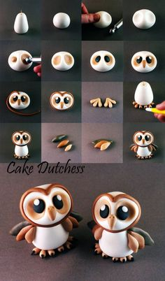 Cute owl cake topper or cupcake topper. Could be done in fondant, gum paste, or modeling chocolate! Great baby owl tutorial by cake dutchess how to make an owl tutorial! Cake Decorating Tutorials about my modelling work, all things are made with Cake Dutc Fondant Cake Toppers, Fondant Cakes, Owl Cake Toppers, Fondant Bow, Fondant Flowers, Cake Icing, Fondant Cake Designs, Cupcake Fondant, Polymer Clay Animals