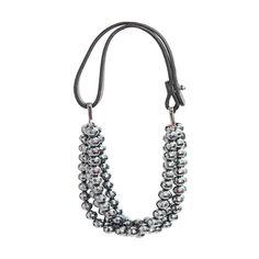 Brunello Cucinelli Silver Hematite Bead Threestrand Necklace