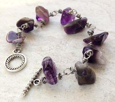 Amethyst Chunky Bead Bracelet, gift for her, purple stone  bold bracelet large beaded Boho gemstone bracelet