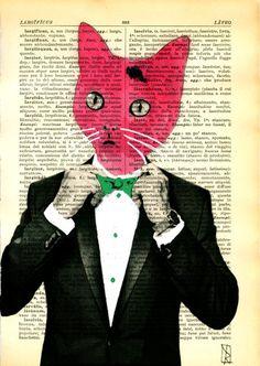 Red Cat Mixed Media Original Painting  - Art on Paper Vintage 1920s Italian Dictionary. $9.00, via Etsy.