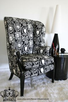 Elegant Gothic Skull Brocade Wing Back Vintage Victorian Parlor Chair