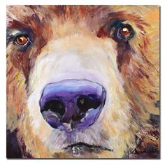 This gallery-wrapped contemporary canvas art by Pat Saunders-White will bring a smile to any room with its whimsical portrait of a bear. Entitled 'The Sniffer,' this giclee piece is sure to please and features the utmost in art quality.