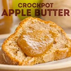 Homemade Crockpot Apple Butter is the perfect way to enjoy the fresh taste of fall apples all season long! Made in the slow cooker with apples, sugar, spices, and butter. Fruit Recipes, Apple Recipes, Fall Recipes, Sweet Recipes, Dessert Recipes, Vegan Recipes, Crock Pot Desserts, Slow Cooker Desserts, Slow Cooker Recipes