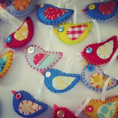 Custom colors - felt bird ornaments in red, teal, yellow, & gray #felt #bird #party favors