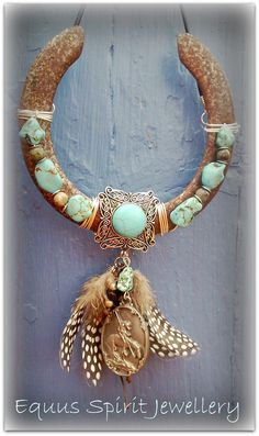 Bejewelled horseshoe with Turquoise and 'End of the trail' pendant.Designed by Equus Spirit Jewellery
