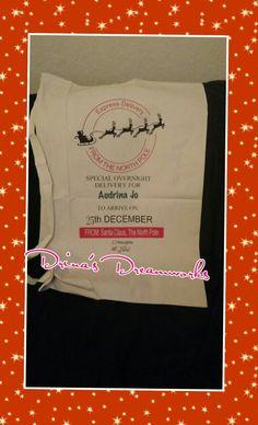 "Personalized Santa Delivery Bag Large Canvas Santa Bag Measurements 22 "" W X 33 "" H $ 25 Visit www.facebook.com/drinasdreamworks  Last day to pre - Order is Dec 14th"