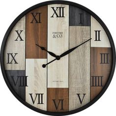 Featuring a multicolored wood panel design, the FirsTime Timberline Wall Clock adds rustic-chic style to any room. Black Roman numerals bring graceful style to this versatile wall clock. Tabletop Clocks, Wood Clocks, Diy Clock, Clock Wall, Wall Clock Online, Decorative Panels, Wood Paneling, Home Decor Accessories, Crafts To Make