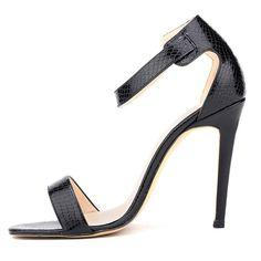 Sexy Stiletto Heel Peep-Toe Crocodile High Heels Sandals