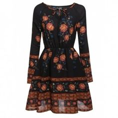 Women's Bohemian Style O-Neck Long Sleeve Floral Casual Dress