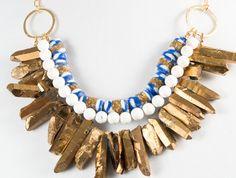 Gold Metallic Crystal Quartz Spike Necklace, White Howlite Necklace, Handmade African Bead, African Necklace, Tribal Necklace, Boho Necklace on Etsy, 124,64€