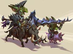 goblin boar knight and squire Goblin Art, Goblin King, Fantasy Illustration, Character Illustration, League Of Legends, Character Art, Character Design, Character Ideas, Dnd Monsters