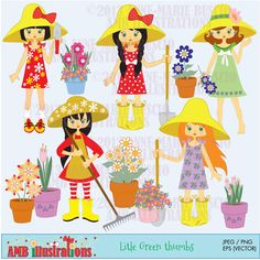 Gardening Girls Clipart for crafts, scrapbooking, web design and more.