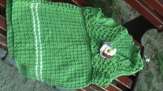 Green vest with large flower by CristinaMyCrochet on Etsy, €30.00